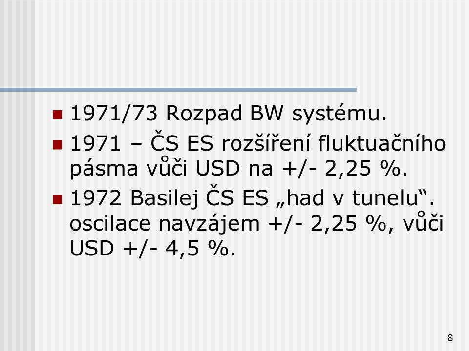 """8 1971/73 Rozpad BW systému. 1971 – ČS ES rozšíření fluktuačního pásma vůči USD na +/- 2,25 %. 1972 Basilej ČS ES """"had v tunelu"""". oscilace navzájem +/"""