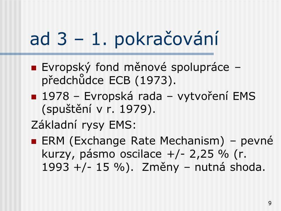 9 ad 3 – 1. pokračování Evropský fond měnové spolupráce – předchůdce ECB (1973). 1978 – Evropská rada – vytvoření EMS (spuštění v r. 1979). Základní r