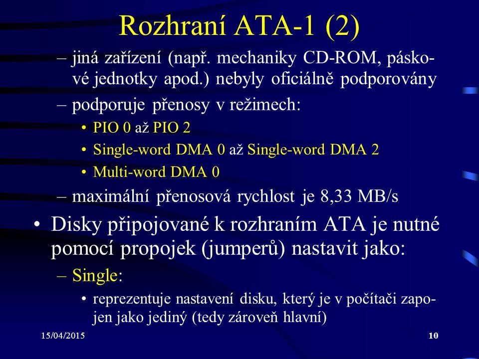 15/04/201510 Rozhraní ATA-1 (2) –jiná zařízení (např. mechaniky CD-ROM, pásko- vé jednotky apod.) nebyly oficiálně podporovány –podporuje přenosy v re