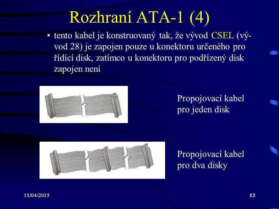 15/04/201512 Rozhraní ATA-1 (4) tento kabel je konstruovaný tak, že vývod CSEL (vý- vod 28) je zapojen pouze u konektoru určeného pro řídící disk, zatímco u konektoru pro podřízený disk zapojen není Propojovací kabel pro jeden disk Propojovací kabel pro dva disky