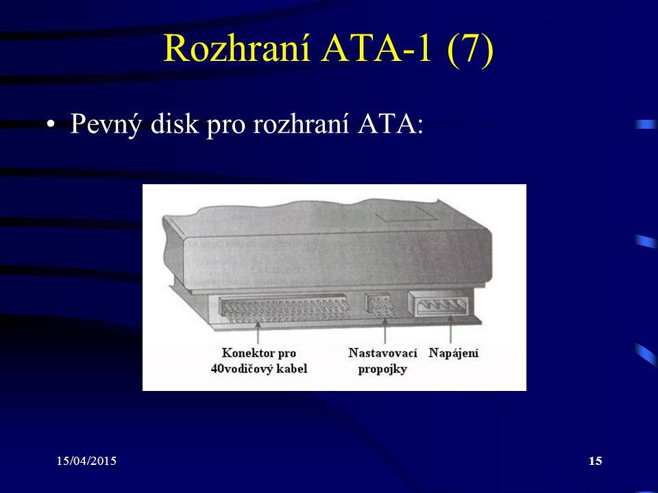 15/04/201515 Rozhraní ATA-1 (7) Pevný disk pro rozhraní ATA: