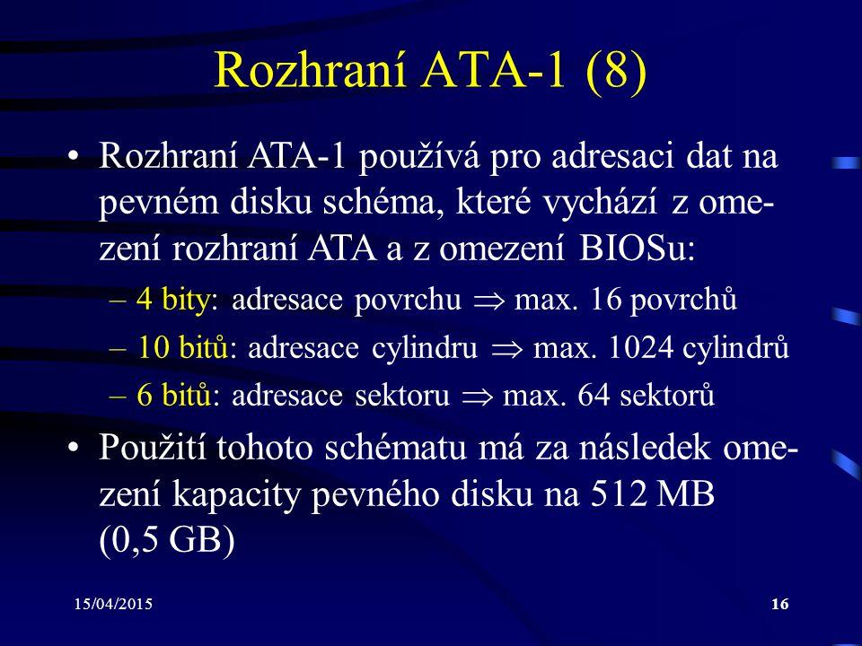 15/04/201516 Rozhraní ATA-1 (8) Rozhraní ATA-1 používá pro adresaci dat na pevném disku schéma, které vychází z ome- zení rozhraní ATA a z omezení BIOSu: –4 bity: adresace povrchu  max.