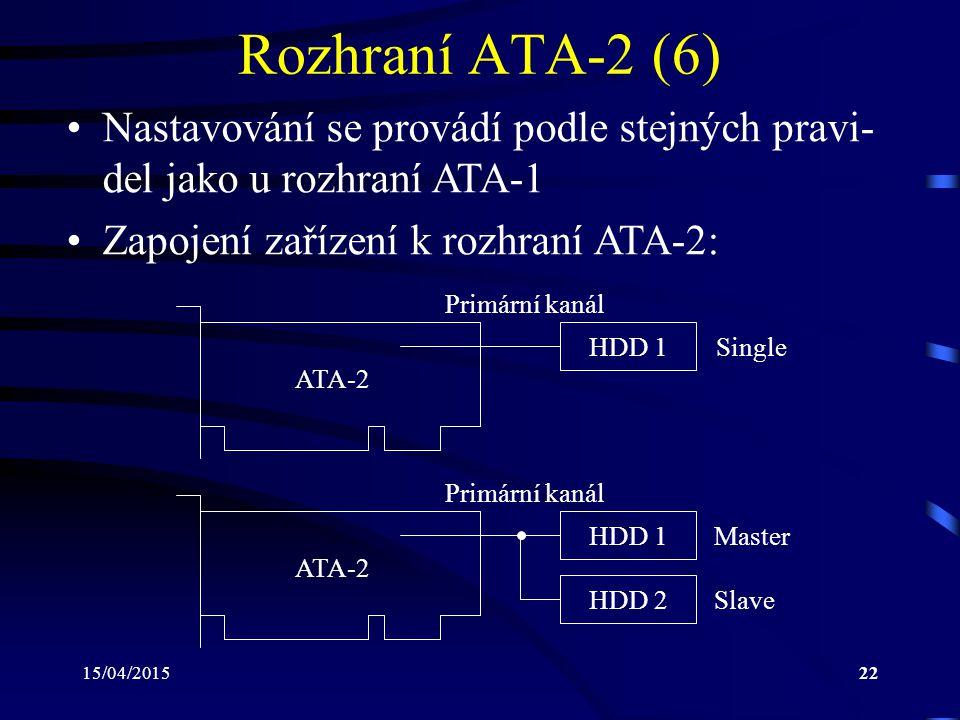 15/04/201522 Rozhraní ATA-2 (6) Nastavování se provádí podle stejných pravi- del jako u rozhraní ATA-1 Zapojení zařízení k rozhraní ATA-2: HDD 1 ATA-2 Single HDD 1 ATA-2 HDD 2 Master Slave Primární kanál