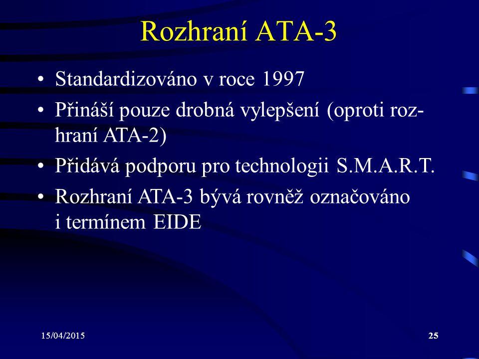 15/04/201525 Rozhraní ATA-3 Standardizováno v roce 1997 Přináší pouze drobná vylepšení (oproti roz- hraní ATA-2) Přidává podporu pro technologii S.M.A.R.T.
