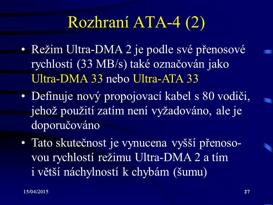 15/04/201527 Rozhraní ATA-4 (2) Režim Ultra-DMA 2 je podle své přenosové rychlosti (33 MB/s) také označován jako Ultra-DMA 33 nebo Ultra-ATA 33 Definu