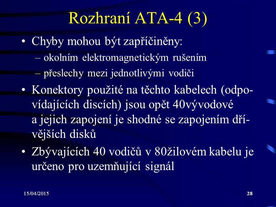 15/04/201528 Rozhraní ATA-4 (3) Chyby mohou být zapříčiněny: –okolním elektromagnetickým rušením –přeslechy mezi jednotlivými vodiči Konektory použité