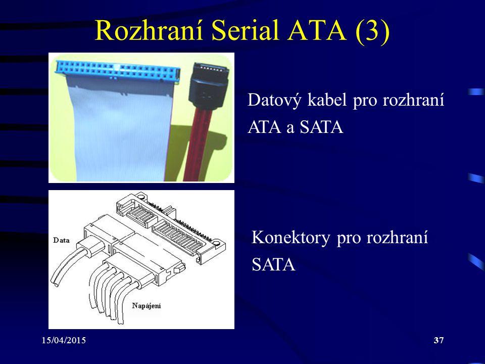 15/04/201537 Rozhraní Serial ATA (3) Datový kabel pro rozhraní ATA a SATA Konektory pro rozhraní SATA