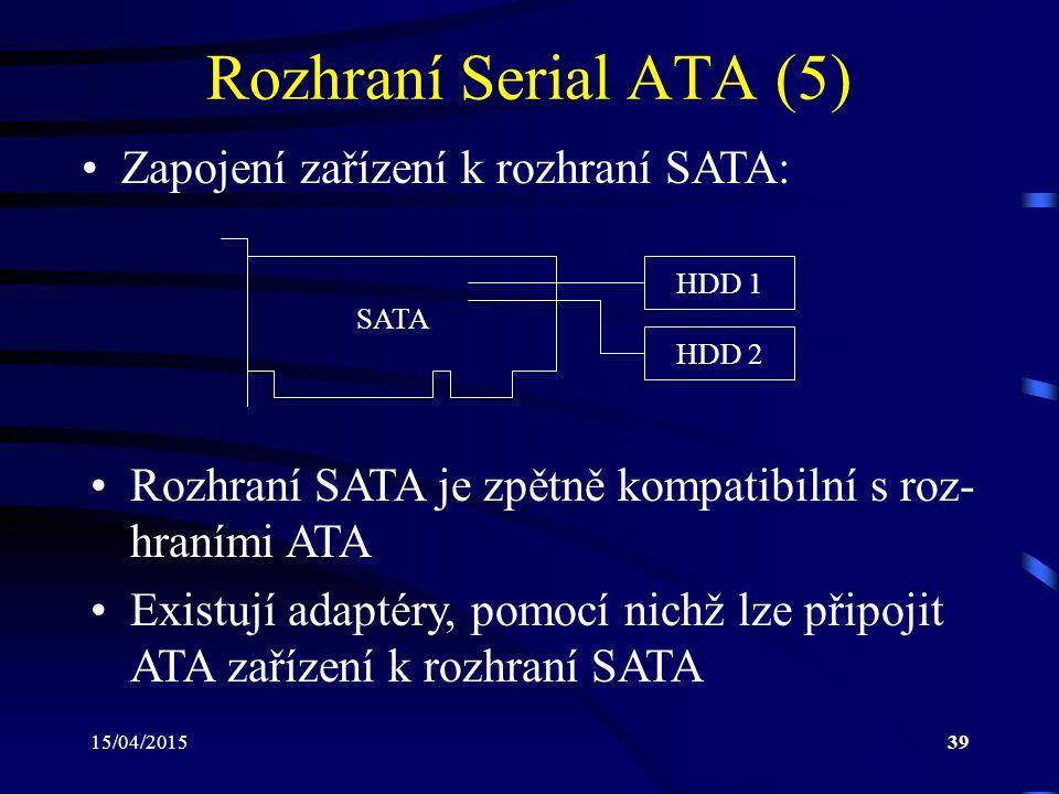 15/04/201539 Rozhraní Serial ATA (5) Zapojení zařízení k rozhraní SATA: HDD 1 SATA HDD 2 Rozhraní SATA je zpětně kompatibilní s roz- hraními ATA Existují adaptéry, pomocí nichž lze připojit ATA zařízení k rozhraní SATA