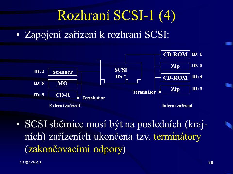 15/04/201548 Rozhraní SCSI-1 (4) Zapojení zařízení k rozhraní SCSI: SCSI CD-ROM Zip ID: 0 ID: 1 CD-ROM Zip ID: 3 ID: 4 Scanner MO ID: 6 ID: 2 CD-R ID: