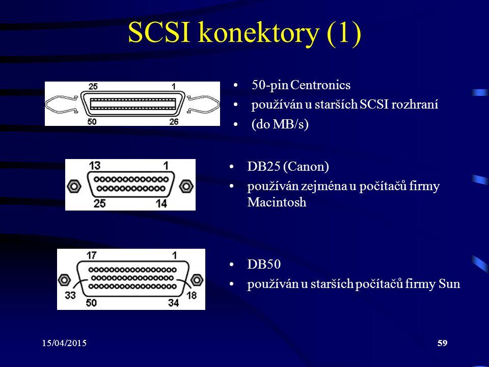 15/04/201559 SCSI konektory (1) 50-pin Centronics používán u starších SCSI rozhraní (do MB/s) DB25 (Canon) používán zejména u počítačů firmy Macintosh DB50 používán u starších počítačů firmy Sun