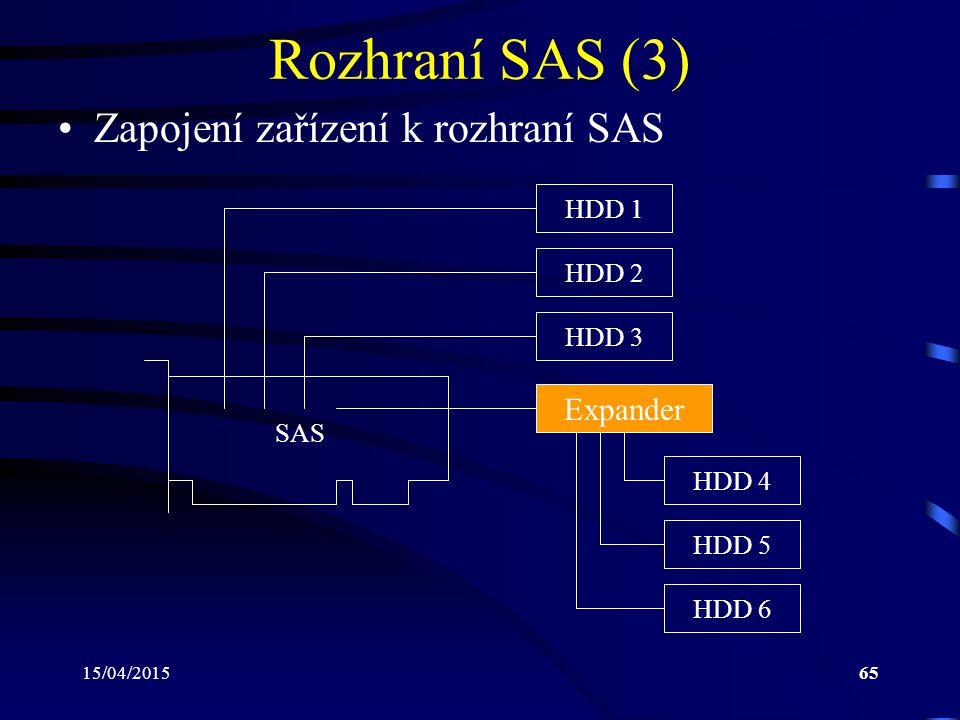 15/04/201565 Rozhraní SAS (3) Zapojení zařízení k rozhraní SAS HDD 1 SAS HDD 2 HDD 3 Expander HDD 4 HDD 5 HDD 6