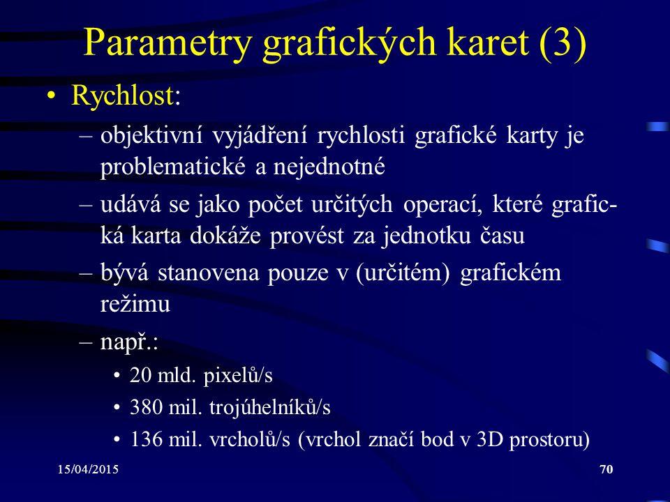 15/04/201570 Parametry grafických karet (3) Rychlost: –objektivní vyjádření rychlosti grafické karty je problematické a nejednotné –udává se jako poče