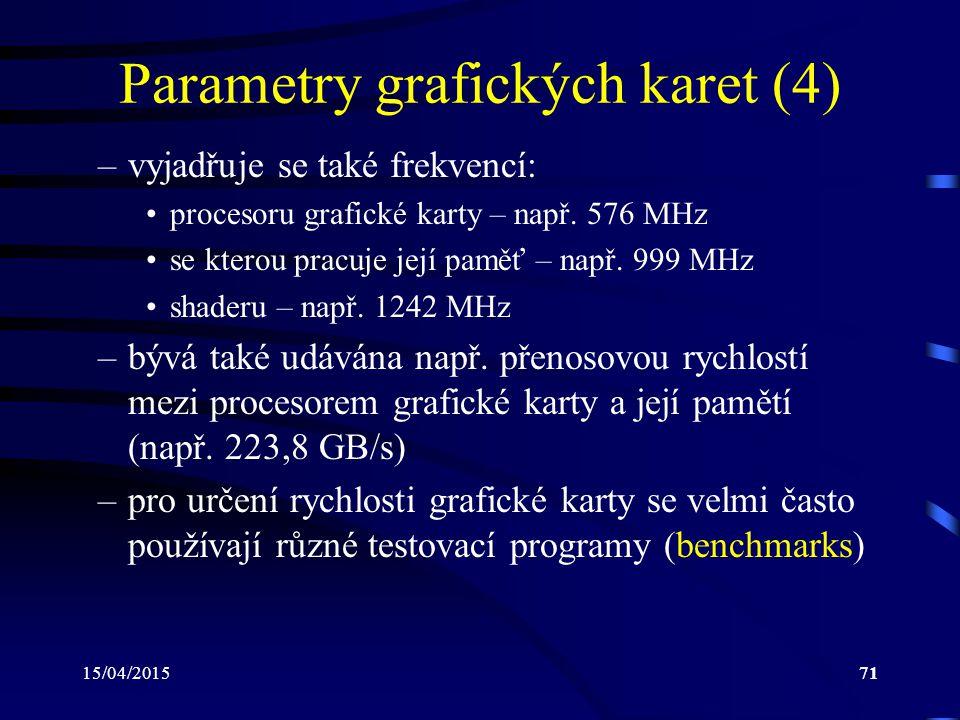 15/04/201571 Parametry grafických karet (4) –vyjadřuje se také frekvencí: procesoru grafické karty – např. 576 MHz se kterou pracuje její paměť – např