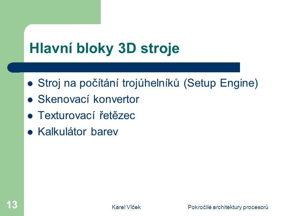 Karel VlčekPokročilé architektury procesorů 13 Hlavní bloky 3D stroje Stroj na počítání trojúhelníků (Setup Engine) Skenovací konvertor Texturovací řetězec Kalkulátor barev