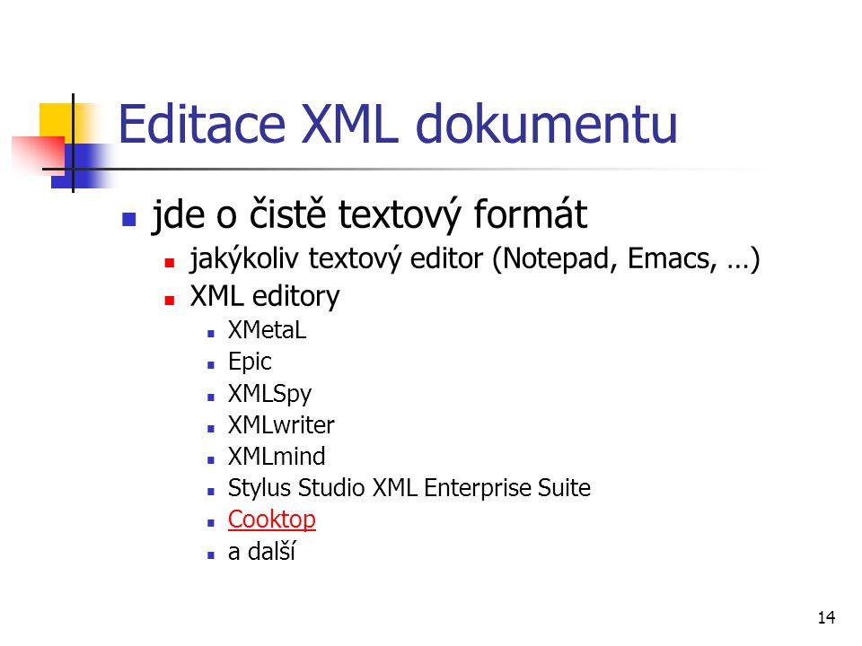 14 Editace XML dokumentu jde o čistě textový formát jakýkoliv textový editor (Notepad, Emacs, …) XML editory XMetaL Epic XMLSpy XMLwriter XMLmind Styl