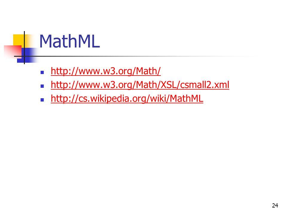 24 MathML http://www.w3.org/Math/ http://www.w3.org/Math/XSL/csmall2.xml http://cs.wikipedia.org/wiki/MathML