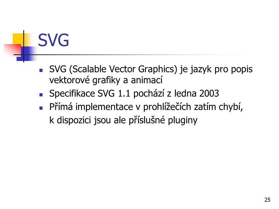 25 SVG SVG (Scalable Vector Graphics) je jazyk pro popis vektorové grafiky a animací Specifikace SVG 1.1 pochází z ledna 2003 Přímá implementace v pro
