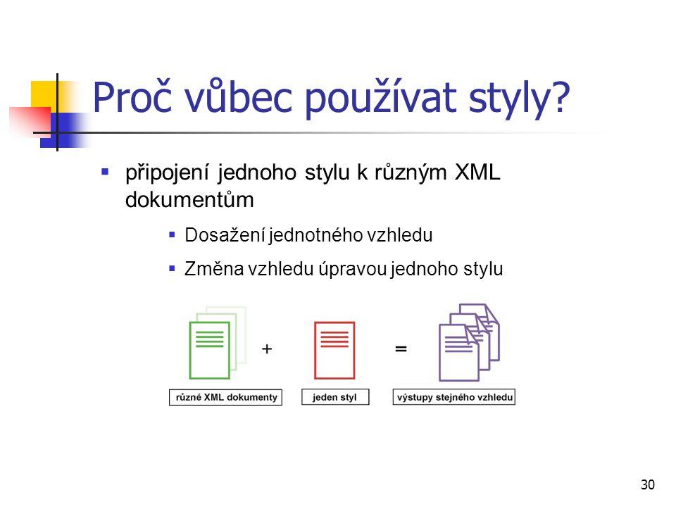30  připojení jednoho stylu k různým XML dokumentům  Dosažení jednotného vzhledu  Změna vzhledu úpravou jednoho stylu Proč vůbec používat styly?