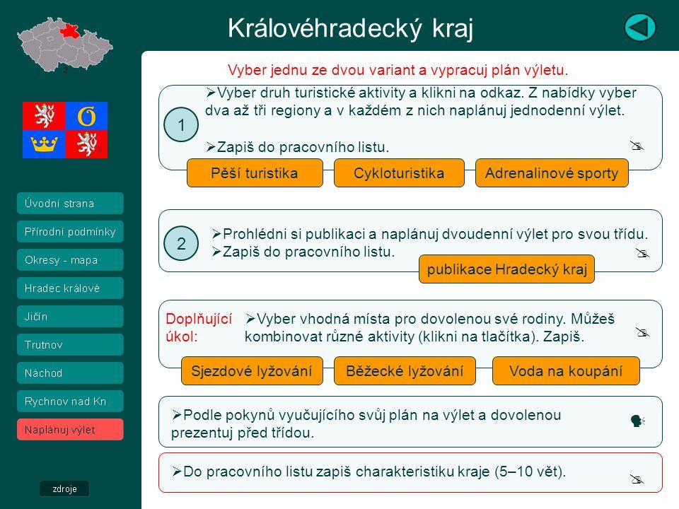 Královéhradecký kraj 2 3 Pěší turistika  Cykloturistika  Vyber druh turistické aktivity a klikni na odkaz. Z nabídky vyber dva až tři regiony a v ka