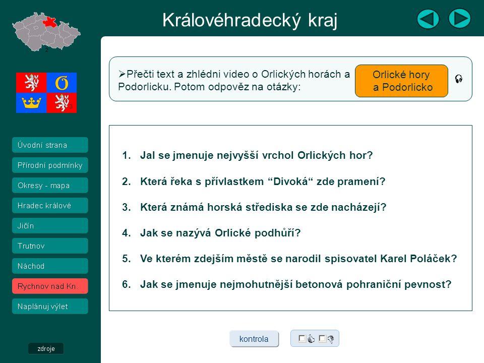 Královéhradecký kraj 2 3 Pěší turistika  Cykloturistika  Vyber druh turistické aktivity a klikni na odkaz.