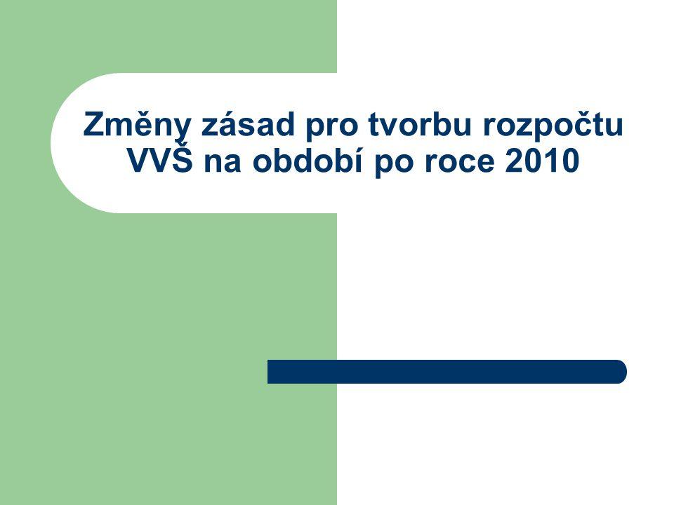 Změny zásad pro tvorbu rozpočtu VVŠ na období po roce 2010