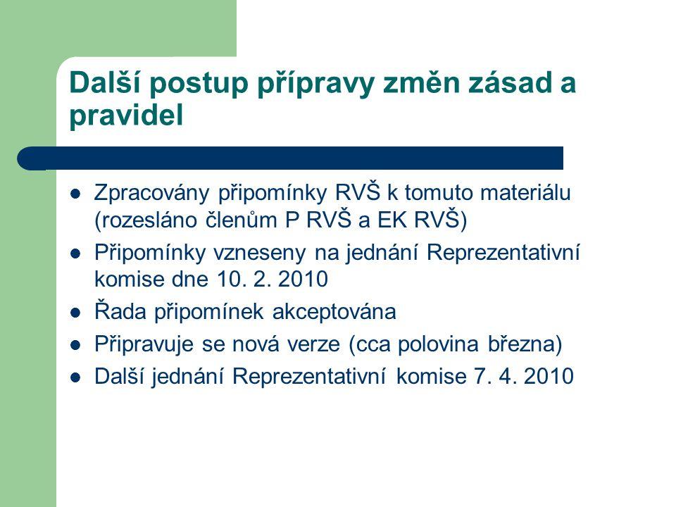 Další postup přípravy změn zásad a pravidel Zpracovány připomínky RVŠ k tomuto materiálu (rozesláno členům P RVŠ a EK RVŠ) Připomínky vzneseny na jednání Reprezentativní komise dne 10.