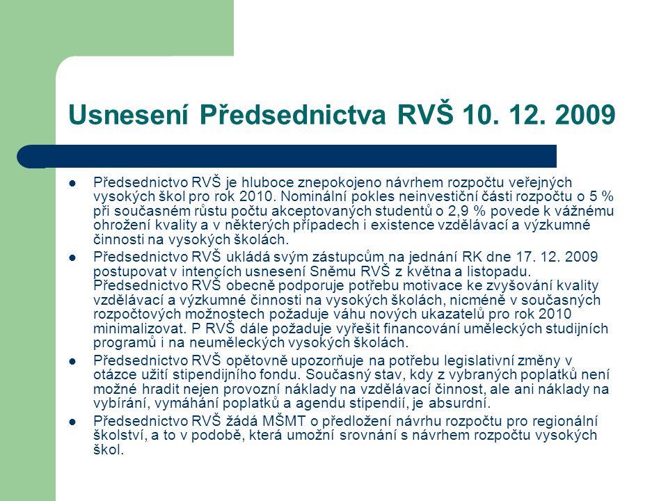 Usnesení Předsednictva RVŠ 10. 12.