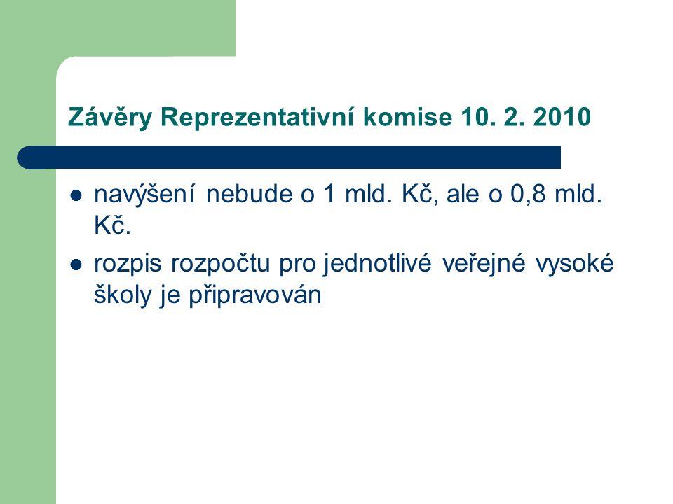 Závěry Reprezentativní komise 10. 2. 2010 navýšení nebude o 1 mld.