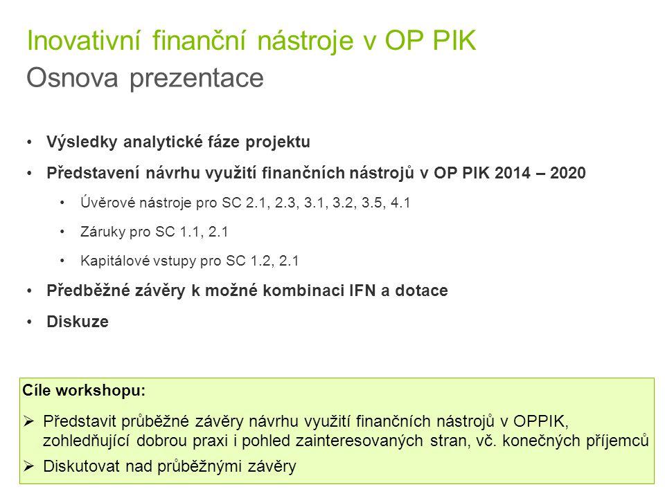 2 © 2015 Deloitte Česká republika Inovativní finanční nástroje v OP PIK Osnova prezentace Výsledky analytické fáze projektu Představení návrhu využití