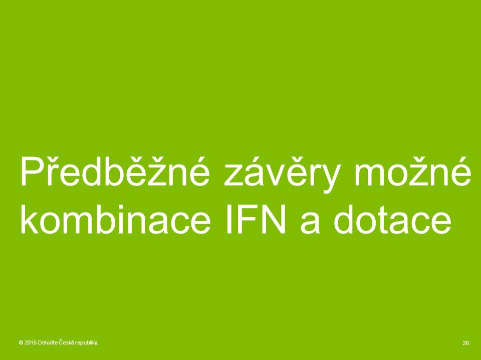 © 2015 Deloitte Česká republika 26 Předběžné závěry možné kombinace IFN a dotace
