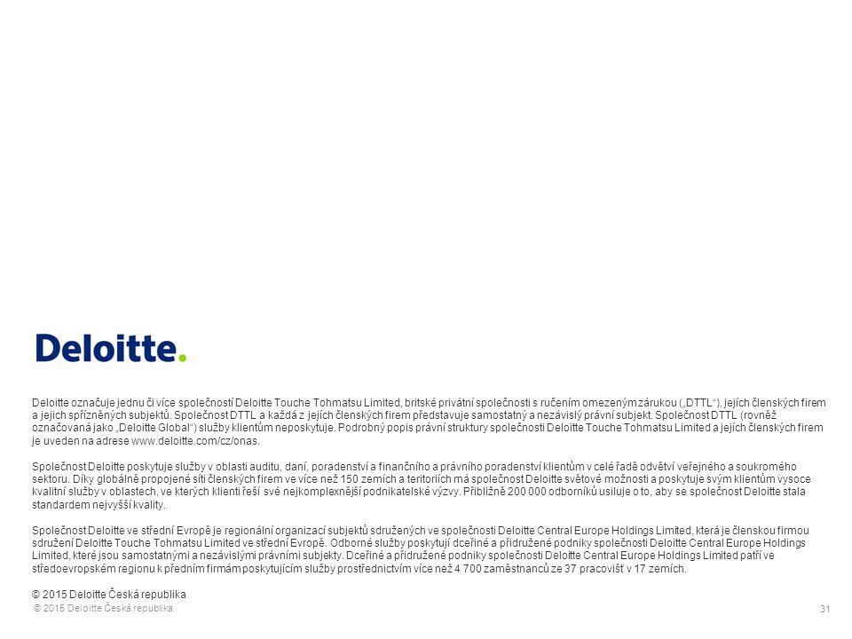 31 © 2015 Deloitte Česká republika Deloitte označuje jednu či více společností Deloitte Touche Tohmatsu Limited, britské privátní společnosti s ručení