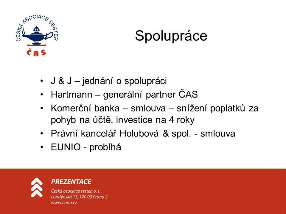 Spolupráce J & J – jednání o spolupráci Hartmann – generální partner ČAS Komerční banka – smlouva – snížení poplatků za pohyb na účtě, investice na 4 roky Právní kancelář Holubová & spol.