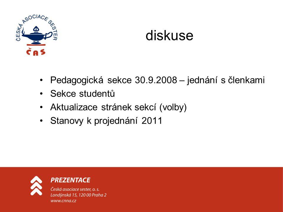 diskuse Pedagogická sekce 30.9.2008 – jednání s členkami Sekce studentů Aktualizace stránek sekcí (volby) Stanovy k projednání 2011