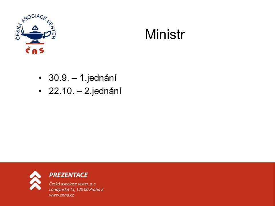 Ministr 30.9. – 1.jednání 22.10. – 2.jednání