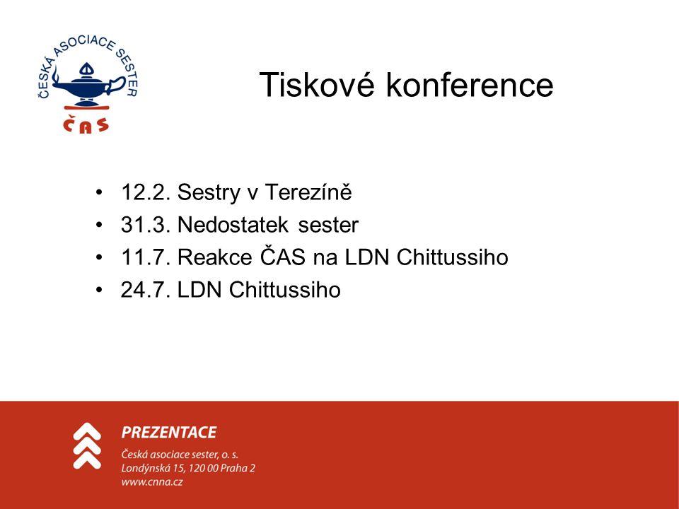 Tiskové konference 12.2. Sestry v Terezíně 31.3. Nedostatek sester 11.7.