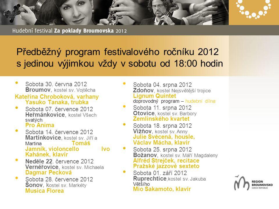 Předběžný program festivalového ročníku 2012 s jedinou výjimkou vždy v sobotu od 18:00 hodin Sobota 30. června 2012 Broumov, kostel sv. Vojtěcha Kateř