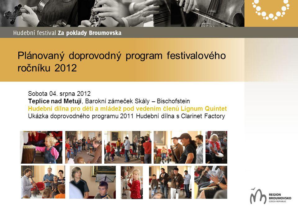 Plánovaný doprovodný program festivalového ročníku 2012 Sobota 04. srpna 2012 Teplice nad Metují, Barokní zámeček Skály – Bischofstein Hudební dílna p