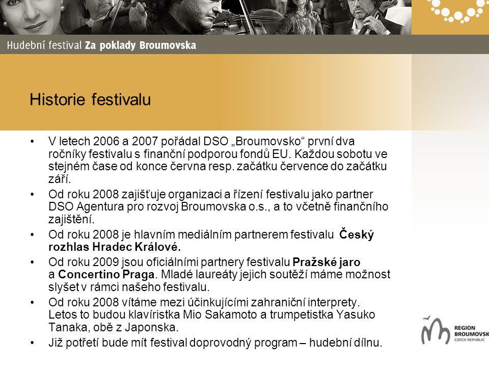 """Historie festivalu V letech 2006 a 2007 pořádal DSO """"Broumovsko"""" první dva ročníky festivalu s finanční podporou fondů EU. Každou sobotu ve stejném ča"""
