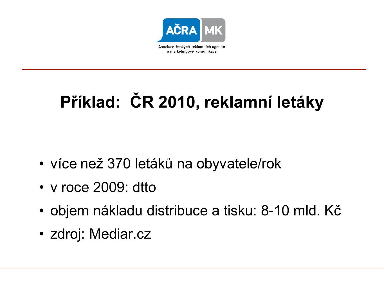 Asociace českých reklamních agentur a marketingové komunikace Příklad: ČR 2010, reklamní letáky více než 370 letáků na obyvatele/rok v roce 2009: dtto objem nákladu distribuce a tisku: 8-10 mld.