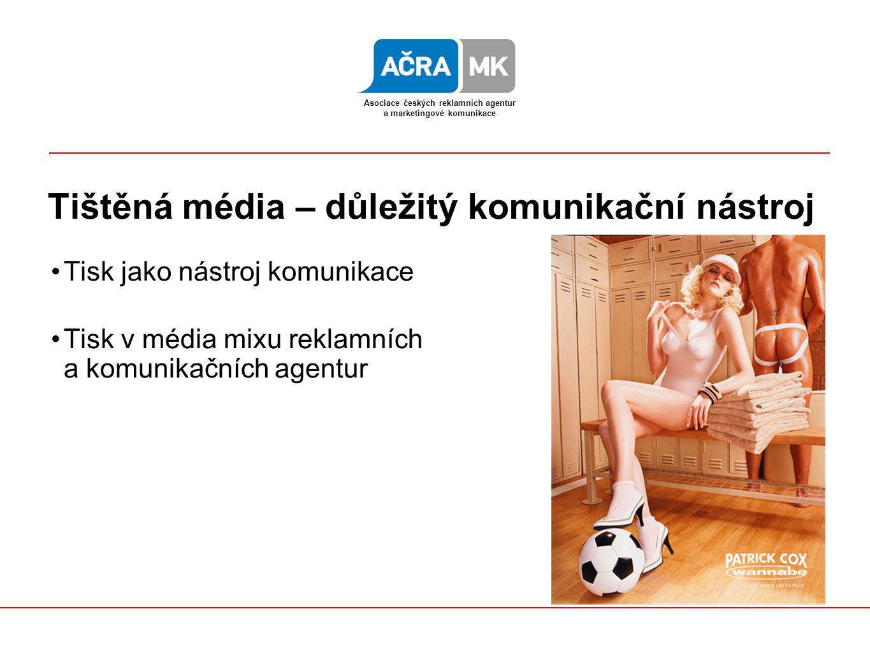 Tištěná média – důležitý komunikační nástroj Tisk jako nástroj komunikace Tisk v média mixu reklamních a komunikačních agentur Asociace českých reklamních agentur a marketingové komunikace