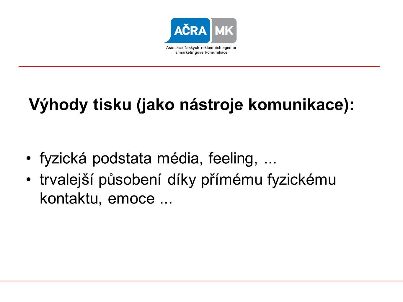 složitá technologie časová náročnost vysoké náklady Nevýhody tisku: Asociace českých reklamních agentur a marketingové komunikace