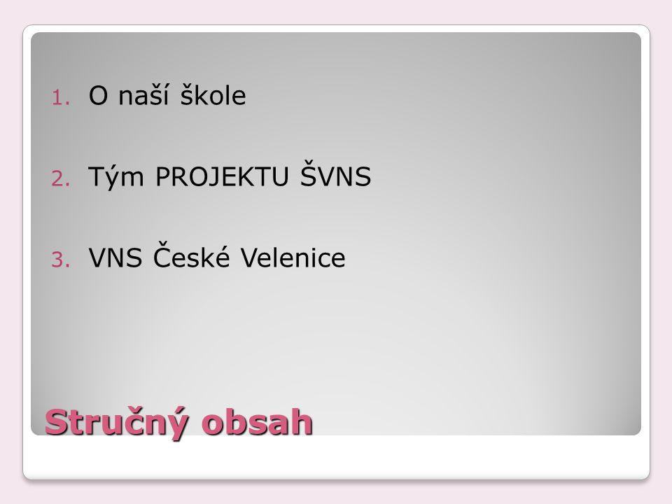 Stručný obsah 1. O naší škole 2. Tým PROJEKTU ŠVNS 3. VNS České Velenice