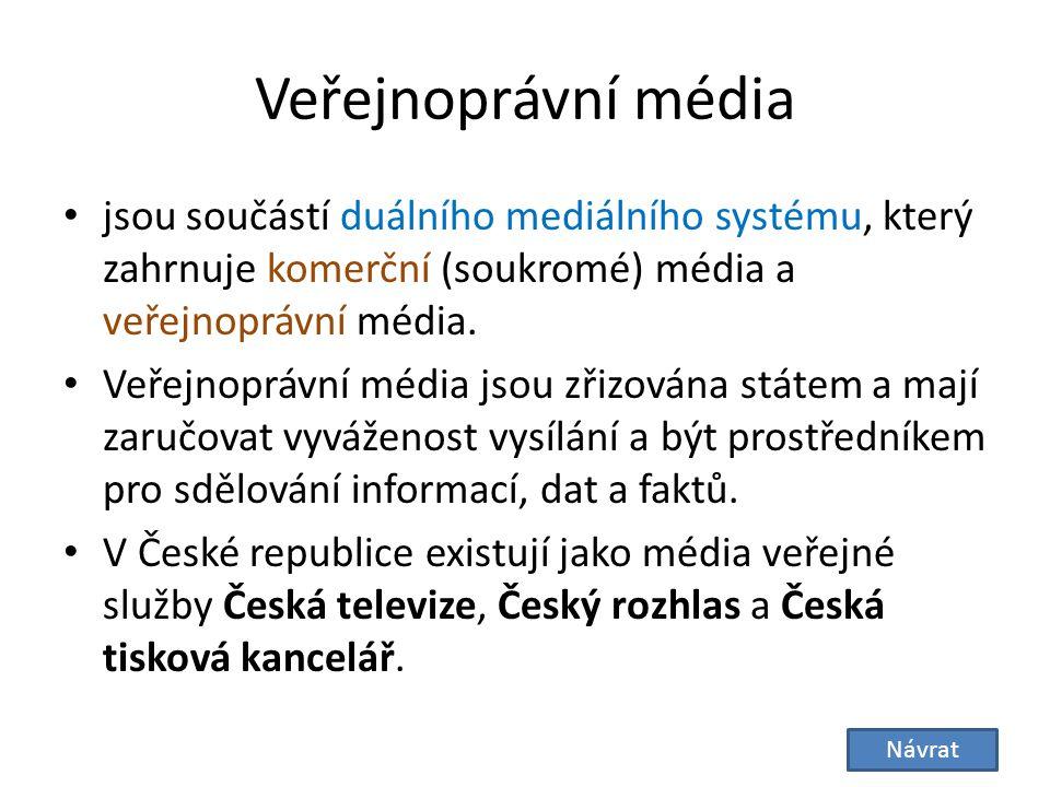 Veřejnoprávní média jsou součástí duálního mediálního systému, který zahrnuje komerční (soukromé) média a veřejnoprávní média.