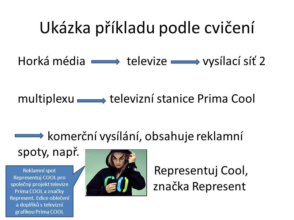 Ukázka příkladu podle cvičení Horká média televize vysílací síť 2 multiplexu televizní stanice Prima Cool komerční vysílání, obsahuje reklamní spoty, např.