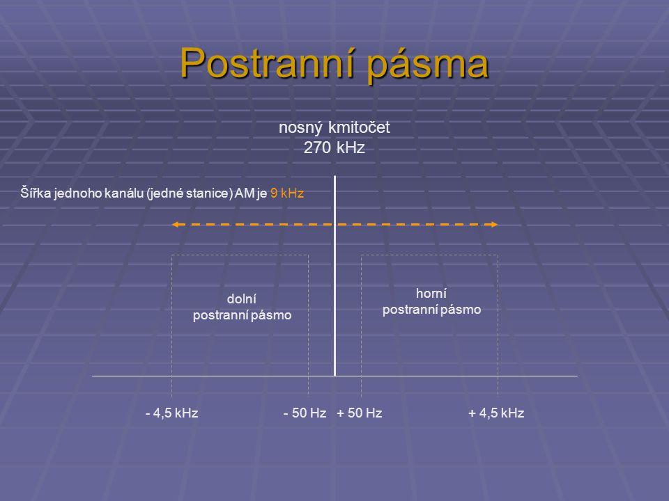 Postranní pásma nosný kmitočet 270 kHz - 4,5 kHz - 50 Hz + 50 Hz + 4,5 kHz Šířka jednoho kanálu (jedné stanice) AM je 9 kHz dolní postranní pásmo horní postranní pásmo