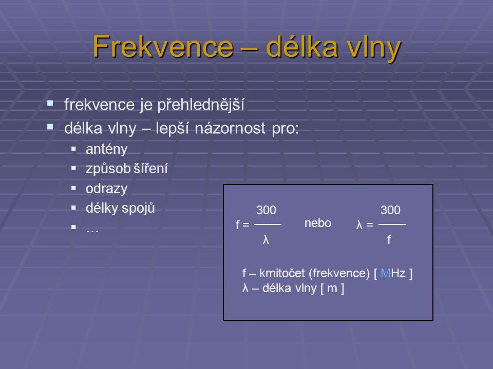 Frekvence – délka vlny  frekvence je přehlednější  délka vlny – lepší názornost pro:  antény  způsob šíření  odrazy  délky spojů  … 300 f = λ 300 λ = f nebo f – kmitočet (frekvence) [ MHz ] λ – délka vlny [ m ]