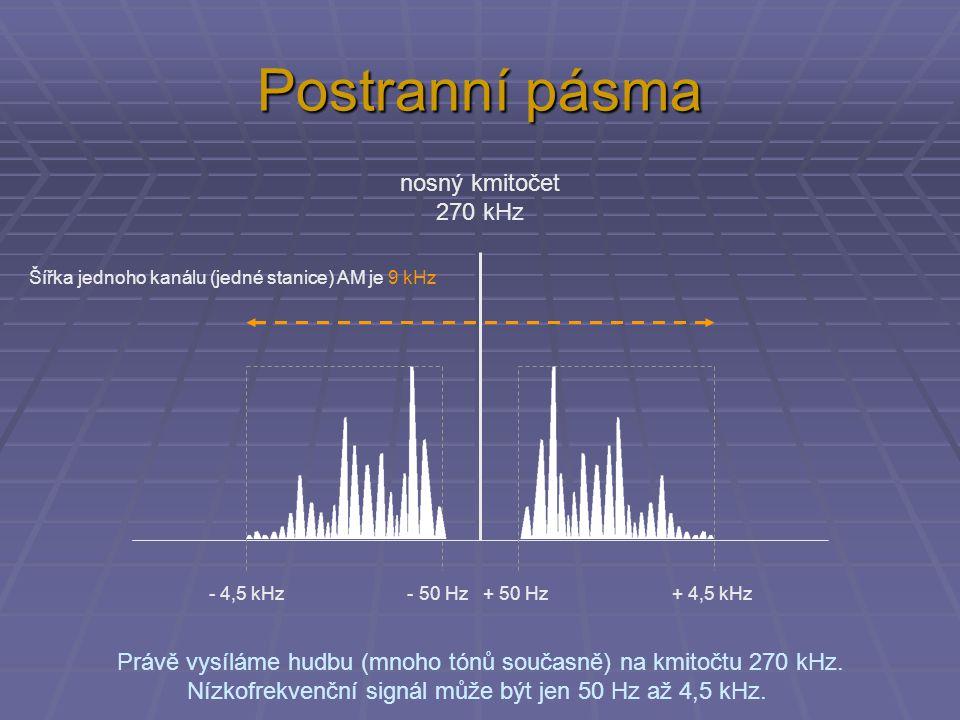 Postranní pásma Právě vysíláme hudbu (mnoho tónů současně) na kmitočtu 270 kHz.