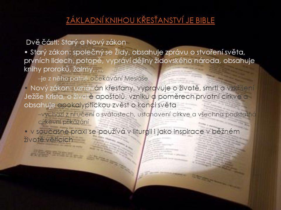 ZÁKLADNÍ KNIHOU KŘESŤANSTVÍ JE BIBLE Dvě části: Starý a Nový zákon Starý zákon: společný se Židy, obsahuje zprávu o stvoření světa, prvních lidech, potopě, vypráví dějiny židovského národa, obsahuje knihy proroků, žalmy, … –je z něho patné očekávání Mesiáše Nový zákon: uznáván křesťany, vypravuje o životě, smrti a vzkříšení Ježíše Krista, o životě apoštolů, vzniku a poměrech prvotní církve a obsahuje apokalyptickou zvěst o konci světa –vychází z ní učení o svátostech, ustanovení církve a všechna podstatná církevní přikázání v současné praxi se používá v liturgii i jako inspirace v běžném životě věřících