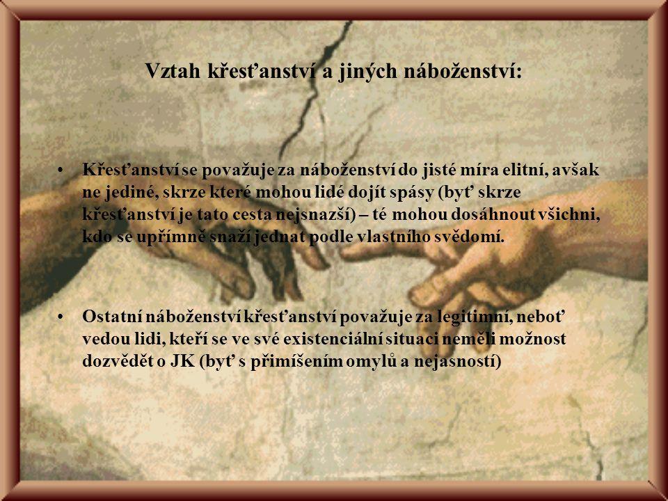 """Prolínání s ostatními náboženstvími Víra v Boha Víra v """"něco po smrti (Nirvána – východní náboženství, islám – """"sedmé nebe ) –z toho plyne úsilí členů jednotlivých náboženství o """"dobrý život , tak, aby tohoto cíle dosáhli Otázky pomoci bližním a etická východiska (islám – desátky, judaismus - Desatero)"""