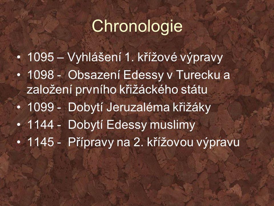 Chronologie 1095 – Vyhlášení 1. křížové výpravy 1098 - Obsazení Edessy v Turecku a založení prvního křižáckého státu 1099 - Dobytí Jeruzaléma křižáky